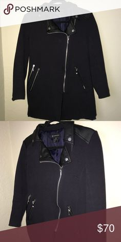 09b7fb86986 INC Jacket Leather and dark blue heavy fabric jacket or coat. Great  condition with silver
