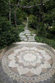 Mandala design on walkway made from stone