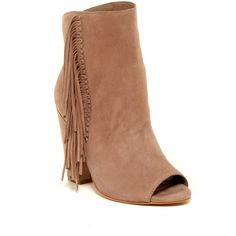 Dolce Vita Mazarine Peep Toe Fringe Bootie ($100) ❤ liked on Polyvore featuring shoes, boots, ankle booties, almond sue, suede fringe boots, suede ankle boots, dolce vita booties, chunky heel booties and ankle boots