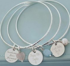 personalised silver disc bangle by hurley burley | notonthehighstreet.com