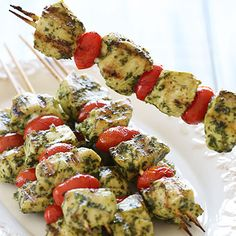Skinny Grilled Pesto Chicken and Tomato Kebabs