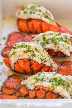 The ONLY Lobster Tails Recipe you'll need! Broiled lobster tails are juicy, flav..., #Broiled #flav #juicy #Lobster #recipe #Tails #Youll Lobster Tail Oven, Easy Lobster Tail Recipe, Baked Lobster Tails, Grilled Lobster, Lobster Meat, Cooked Lobster, Stuffed Lobster, Best Seafood Recipes, Lobster Recipes
