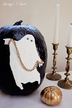 Funny Ghost Pumpkin Painting Idea