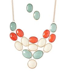 Trezo Red & Cream Oval Cluster Bib Necklace (780 DOP) ❤ liked on Polyvore featuring jewelry, necklaces, cream necklace, bib necklace, cluster jewelry, cluster necklace and red necklace