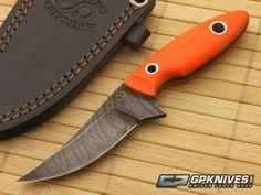 Olamic Cutlery Neck Knife Damascus and Orange G10