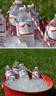 Make your outdoor wedding reception this summer extra special by applying personalized labels to your bottles of water. Tie a paper straw to each water bottle using color coordinated string or twine for delightful summer reception quenchers that are gorgeous. Your guests will admire this little attention to your wedding reception decor details. Water bottle labels can be personalized with your choice of a wedding design, the bride and groom's name and wedding date or a special thank you message.