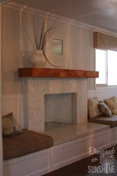 Fireplace Remodel – add built-ins for seating~ I love the added seating, but sto… – farmhouse fireplace tile Fireplace Redo, Fireplace Seating, Farmhouse Fireplace, Fireplace Hearth, Fireplace Remodel, Modern Fireplace, Fireplace Surrounds, Fireplace Design, Fireplaces