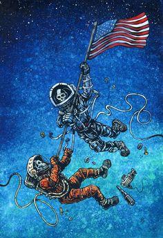 Day of the Dead Artist David Lozeau, Space Race, David Lozeau Dia de los Muertos Art - 1