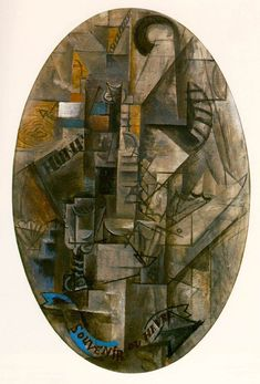 """""""Souvenir from Havre"""".Artist: Pablo Picasso Completion Date: 1912 Style: Analytical Cubism Period: Cubist Period Genre: still life Technique: oil Material: canvas Dimensions: 92 x 65 cm Gallery: Private Collection. Pablo Picasso Artwork, Kunst Picasso, Picasso Paintings, Oil Paintings, Synthetic Cubism, Trinidad, Cubist Art, Cubist Movement, Georges Braque"""