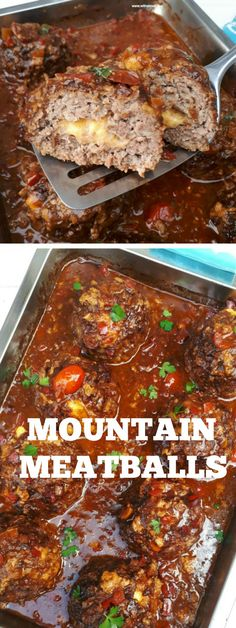 meatball recipes Ginormous, juicy Meatballs, stuffed with Cheese in a rich, comforting sauce Beef Dishes, Food Dishes, Main Dishes, Hamburger Meat Dishes, Meat Food, Cheese Stuffed Meatballs, Albondigas, Meatball Recipes, Giant Meatball Recipe