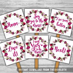 Say Yes To The Dress Instant Bridal Shower Wedding Ping Paddle Signs Watercolor Fl Purple Pink Boho Chic