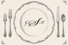 Personalized Vintage Paper Placemats with Script Monogram, Personalized Paper Placemats at Affordable Prices Wedding Sweepstakes, Vintage Paper, Script, Decorative Plates, Monogram, Script Typeface, Scripts, Monograms