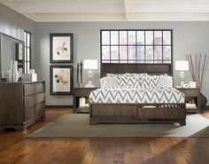 Legacy Classic Furniture - The Wave Sleigh Bedroom Set with Storage. Find the balance between modern and traditional with this clean lined bed and casegood set. Plenty of storage for a more organized you! #Furnitureland South #Furniture