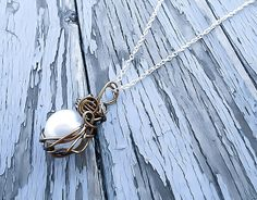 Pearl necklace, Once upon a time, Snow White Necklace, caged pearl necklace, Fairytale jewelry, pearl pendant, wrapped necklace