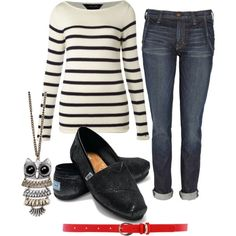 stripes plus red belt plus glittery toms plus owl necklace equals an adorable casual outfit that is so easy to put together