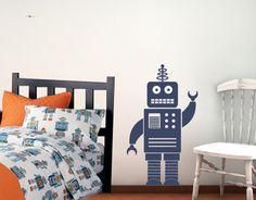 Robot Vinyl Wall Decal - Boy Nursery Vinyl Decal - 3 feet tall. $33.00, via Etsy.