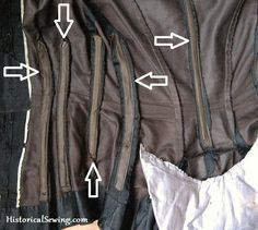 """Boning placement in an original bodice. Article with pictures on Boning in Bustle Bodices. Hint: """"You can barely find a bodice without boning! 1880s Fashion, Victorian Fashion, Vintage Fashion, Victorian Era, Victorian Interiors, Historical Costume, Historical Clothing, Denim Shirt Style, Bustle Skirt"""