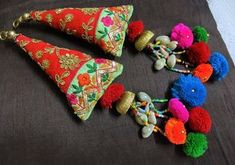 Your place to buy and sell all things handmade Tassel Purse, Diy Tassel, Tassel Jewelry, Fabric Jewelry, Jewellery, Vintage Embroidery, Hand Embroidery, Hanging Pom Poms, Rakhi Design