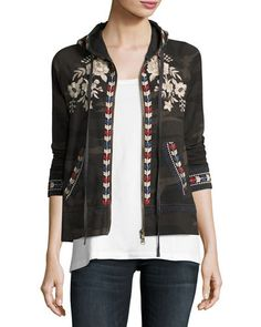 TVT5E Johnny Was Zoe Embroidered Zip-Front Hoodie