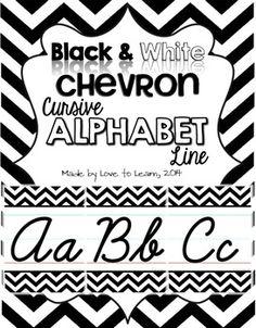 Sweet & simple cursive alphabet line with a black & white chevron theme.