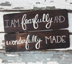 I am Fearfully and Wonderfully made Handpainted Wooden Sign by Kicks Crafts on Etsy