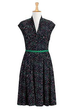 I <3 this Twist front print crepe dress from eShakti