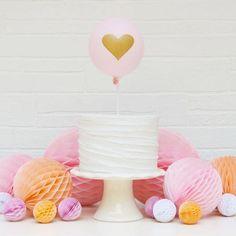 Little Heart Balloon Cake Topper Kit: Blush/Gold