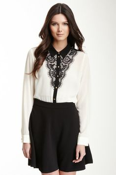 Romeo & Juliet Couture Lace Trim Long Sleeve Blouse by Non Specific on @HauteLook