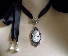 Cameo choker   black satin ribbon  vintage inspired