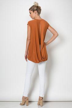 Twisted open back sleeveless tunic