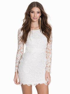 Long Sleeve Zip Dress - Nly One - Hvid - Festkjoler - Tøj - Kvinde - Nelly.com