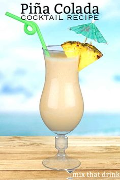 The Piña Colada drink recipe is a tropical delight. It features pineapple juice, coconut cream and rum, and it's wonderful blended or over ice. Spiced Rum Drinks, Malibu Rum Drinks, Bar Drinks, Cocktail Drinks, Cocktail Recipes, Summer Cocktails, Drinks Alcohol Recipes, Alcoholic Drinks, Drink Recipes
