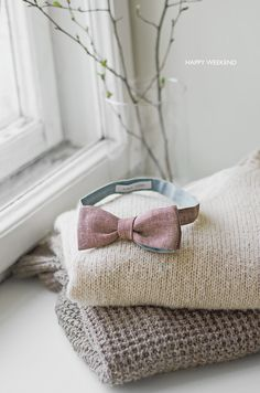 brown chambray bow tie