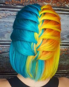 Uploaded by Find images and videos about hair, dyed hair and colourful hair on We Heart It - the app to get lost in what you love. Beautiful Hair Color, Cool Hair Color, Funky Hairstyles, Pretty Hairstyles, Updo Hairstyle, Hairstyle Ideas, Split Dyed Hair, Pelo Multicolor, Bright Hair