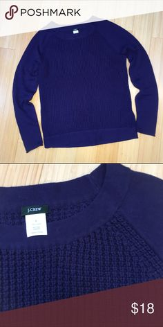 """J. CREW navy sweater, S. Simple and classic navy blue crew neck sweater by J Crew, sz small. Excellent condition, 100% cotton. Waffle weave texture on the front. Sweater length is 24.5"""". J. Crew Sweaters Crew & Scoop Necks"""