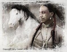 Native American Indian With Wild Stallion by PhotosbyJerryCowart