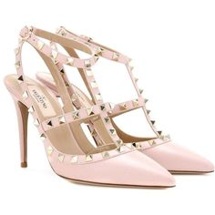 Valentino Rockstud Leather Pumps (44,405 PHP) ❤ liked on Polyvore featuring shoes, pumps, valentino, heels, pink, heel pump, valentino pumps, leather pumps, genuine leather shoes and pink pumps