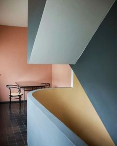 Designing is also about playing with shapes and colours giving different perspectives to who goes through the space. Le Corbusier, Namaste, Source Of Inspiration, Color Schemes, Architecture Design, Wall Lights, Palette, Colours, Lighting