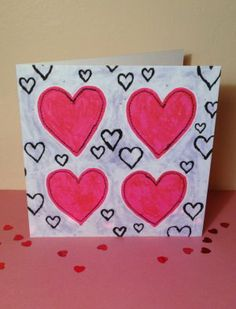 'Hearts' Valentine's Card by Dilys Treacle Treasures