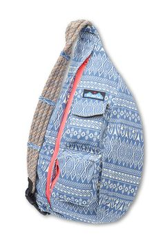 """KAVU%92Rope Bag-Blue Blanket-Adjustable rope shoulder strap, two vertical zip compartments, two key or cell phone pockets, padded back with KAVU embroidery. Dimensions: 11"""" x 20"""". Fabric: 12oz cotton canvas."""