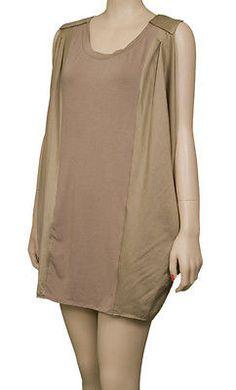 Season Js Sleek Mini Sleeveless Womens Dresses Taupe Size M ~