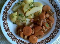 Vepřové v mrkvi Fruit Salad, Potato Salad, Sausage, Potatoes, Meat, Ethnic Recipes, Sausages, Potato, Fruit Salads