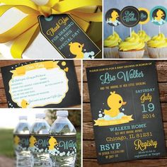 Chalkboard Rubber Duck Baby Shower Theme by SunshineParties Ducky Baby Showers, Baby Shower Duck, Rubber Ducky Baby Shower, Baby Party, Baby Shower Parties, Baby Shower Themes Unisex, Party Banner, Wishes For Baby Cards, Baby Shower Invitaciones
