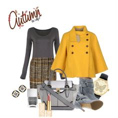 yellow and gray by huda-alalawi on Polyvore featuring polyvore, fashion, style, Jejia, Oscar de la Renta, Maison Margiela, River Island, Betsey Johnson, Tory Burch and Nails Inc.