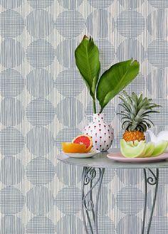 Block Circle in steel wallpaper design by Skinny laMinx