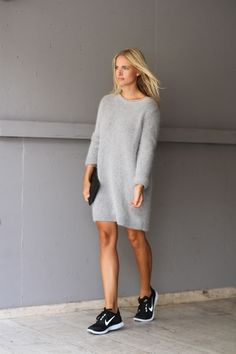 sweater dress and sneakers..chic and easy