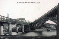 Puente de La Barca y viejo puente de ferrocarril. Pontevedra. 1915