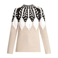 Peter Pilotto Round-neck intarsia-knit wool-blend sweater (45.300 RUB) ❤ liked on Polyvore featuring tops, sweaters, beige multi, slim fit sweaters, beige sweater, round neck top, round neck sweater and wool knit sweater