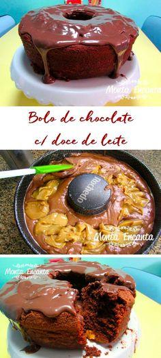 Como preparar bolo de chocolate com doce de leite, que já sai recheado do forno.