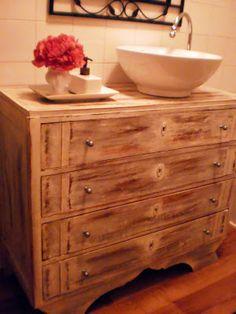 dama das camélias: Reciclar armário (para lavatório)